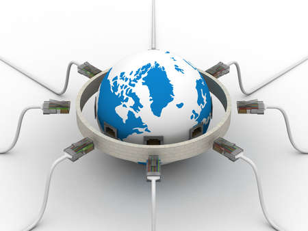wall plug: protected global network the Internet. 3D image.