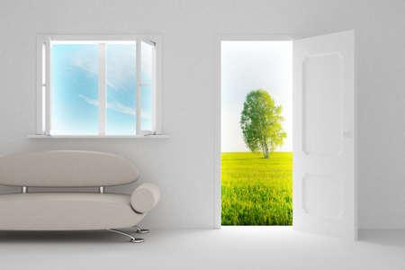 way of living: Landscape behind the open door and window. 3D image