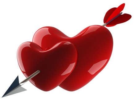 pierced: Two hearts pierced by an arrow. 3D image.