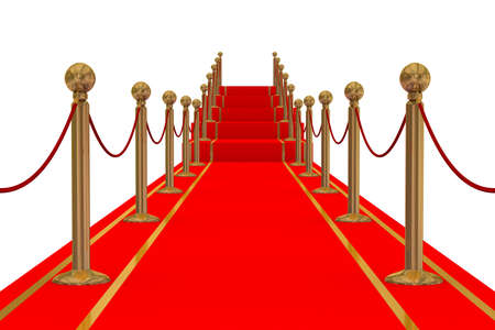 uphill: Red carpet path on a stair. 3D image. Stock Photo