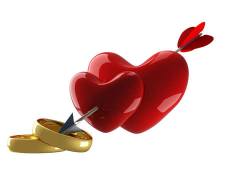 fondness: Two hearts pierced by an arrow. 3D image.