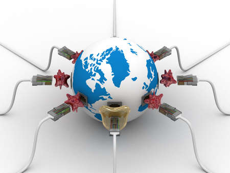 protected global network the Internet. 3D image.