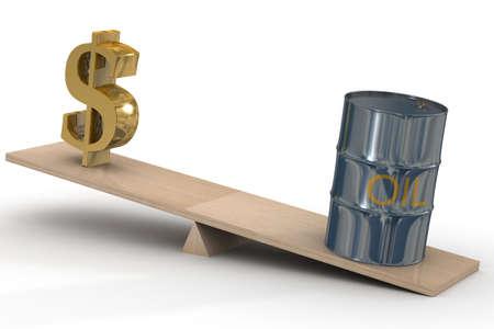 hogshead: Cost of oil stocks. 3D image. Stock Photo