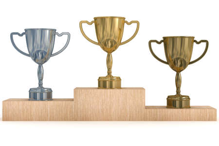 Cups for winners of competitions. 3D  image. photo