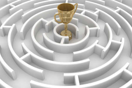 White circle labyrinth with cup. 3D image. photo