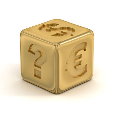 Cube with currency signs. 3D image. photo