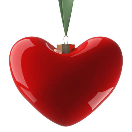 christmasball: Heart hanging on a ribbon. 3D image. Stock Photo