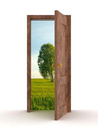 Landscape behind the open door. 3D image Stock Photo - 3711661