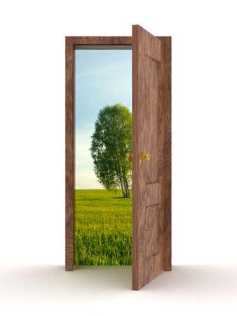 Landscape behind the open door. 3D image Stock Photo - 3711661