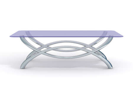 little table: glass little table on a white background. 3D image.