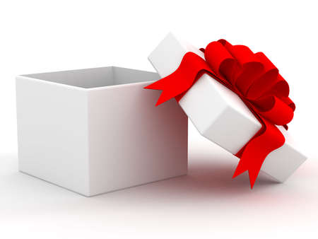 White gift box. 3D image. photo