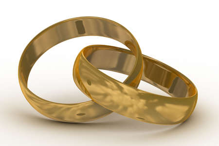 fondness: Two gold wedding rings. the 3D  image.