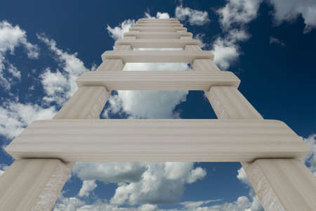 uphill: Stair to sky. 3D image.