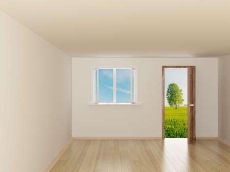 laminated: Empty room. Landscape behind the open door. 3D image