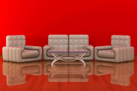 refreshment: Interior of a living room. 3D image.