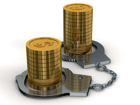 submission: Arrest of money. Isolated 3D image Stock Photo