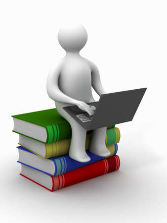 student with the laptop sitting on books. 3D image. Stock Photo