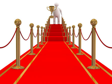 winner on a red carpet path. 3D image photo