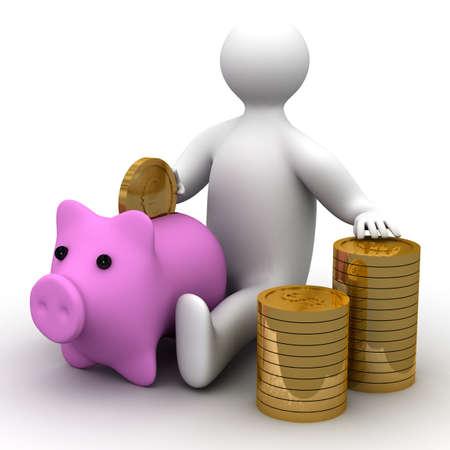 earn: persona poniendo el dinero en una caja de moneda. Imagen en 3D Foto de archivo