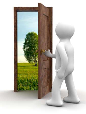 Landscape behind the open door. 3D image Stock Photo - 3850692