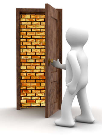 bricklaying: exit is not present. Isolated 3D image