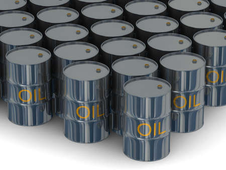 steel drum: Warehouse of kegs with oil. 3D image