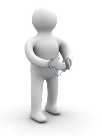 criminal chained in handcuffs. Isolated 3D image
