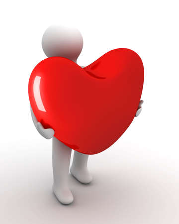 Heart in a gift. Isolated 3D image. photo