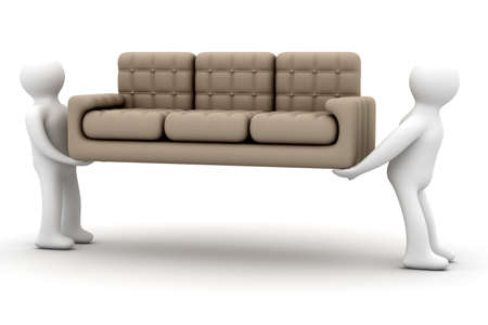 settee: Loaders transfer a sofa. Isolated 3D image.
