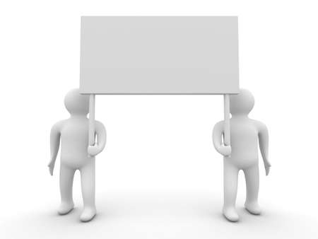 Two persons hold a banner on white background. 3D image Stock Photo - 3907485
