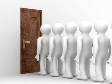 People standing one after another before the closed door Stock Photo - 3932207