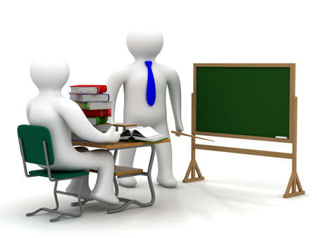 comfort classroom: Lesson in a school class. Isolated 3D image.