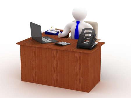 furniture computer: businessman behind a desktop. Isolated 3D image.