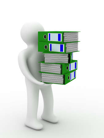 person with accounting folders. Isolated 3D image photo