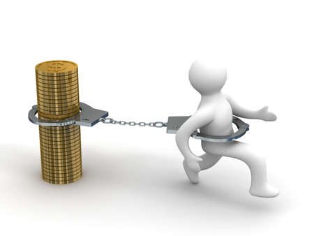 prisoner of the money: Promissory notes. Financial crisis. Isolated 3D image