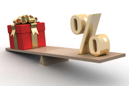 equilibrium: Discounts for gifts. Isolated 3D image