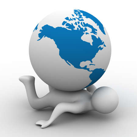 lost world: Globe laying on the person. Isolated 3D image. Stock Photo