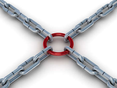 Chain fastened by a red ring. 3D image. Stock Photo