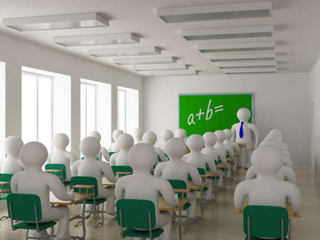 students in class: Interior of a school class. 3D image.