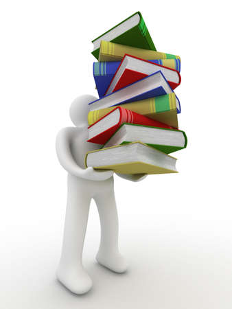 verses: student with a bale of books. Isolated 3D image. Stock Photo