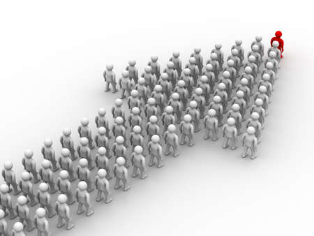 Arrow made of people. 3D image. Stock Photo - 3987518
