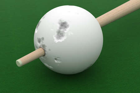 cue: Old billiard ball punched cue. 3D image. Stock Photo