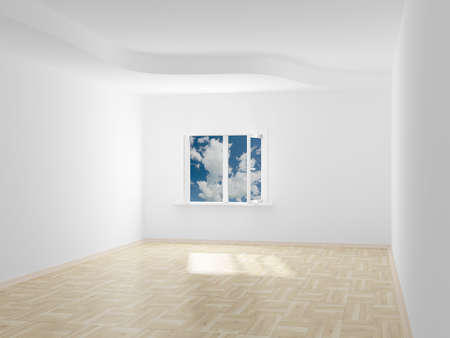 spacious: Empty room. Cloudscape behind the open window. 3D image