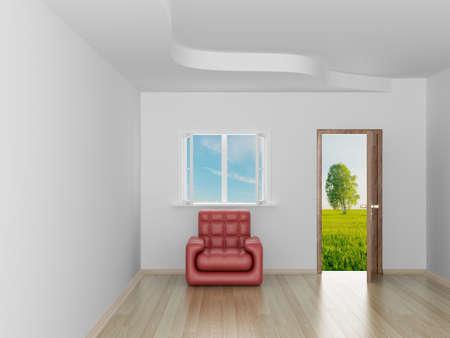 Empty room. Landscape behind the open door. 3D image Stock Photo - 4137323