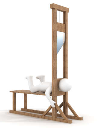 execute: Guillotine on a white background. 3D image.