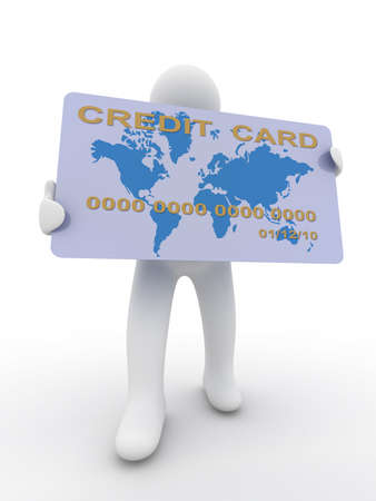 earnings: businessman with a credit card on a white background. 3D image Stock Photo