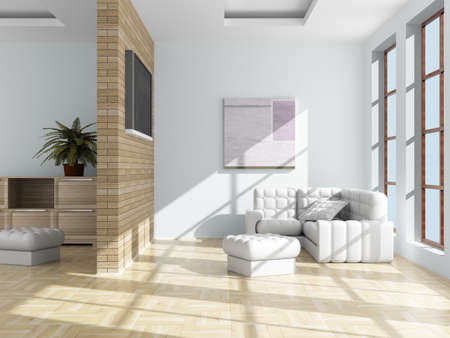 Inter of a living room. 3D image. Stock Photo - 4227379