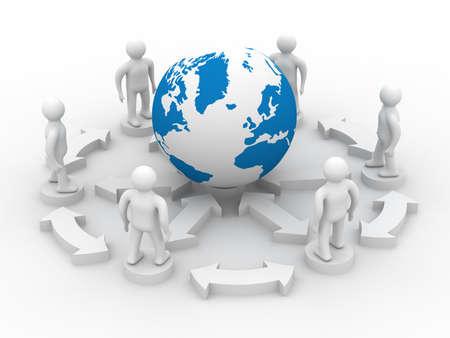 transmit: Conceptual image of teamwork. 3D image.