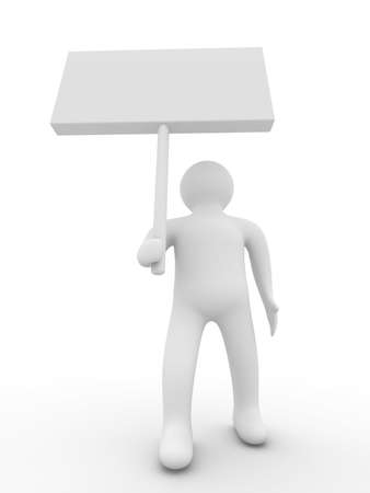 person hold a banner on white background. 3D image photo