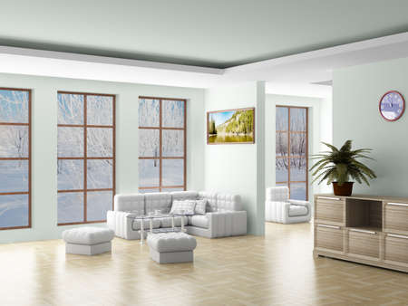 settee: Interior of a living room. 3D image.